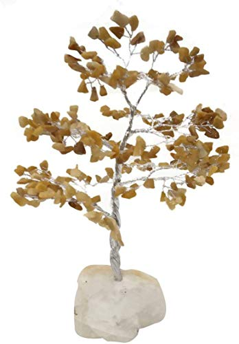FASHIONZAADI Yellow Aventurine Bonsai Crystals Tree Rock Quartz Base Wealth Luck Feng Shui Chakra Healing Stone Figurine Decoration Handmade Gift 8-10 Inch Silver Wire