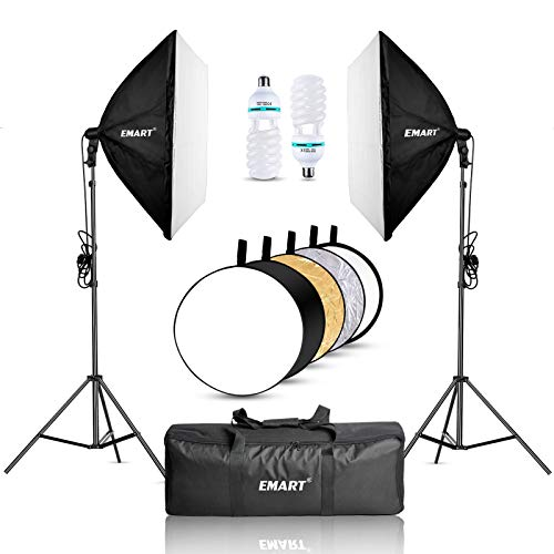 EMART Softbox Lighting Kit with Reflector, 24'x24' 1000W Photography Soft Box Continuous Light Set with Photo Studio Bulbs, Professional Camera Light Equipment for Video Recording, Filming, Podcast
