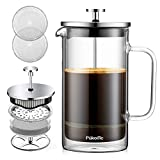 French press coffee maker(34oz/1000ml),304stainless steel,High borosilicate glass,Four layer filtration system,no grounds,one color