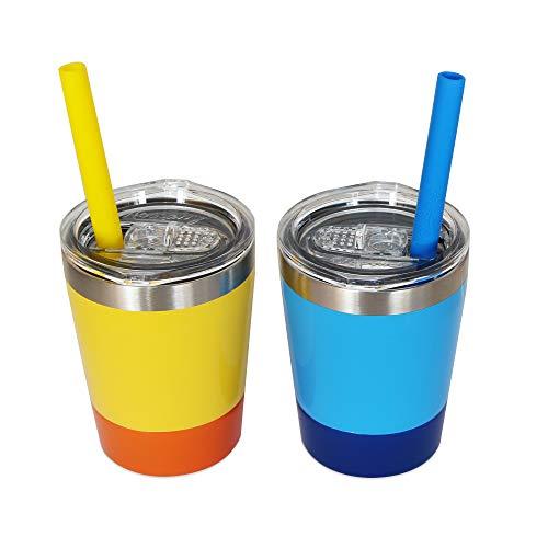 Housavvy Sippy Cups for Toddlers, Easy Clean, Dishwasher Safe, BPA Free Kids Stainless Steel Cups with Tritan Lids and Kids Smoothie Silicone Reusable Straws, Pack of 2, 8.5 Oz, Yellow/Blue