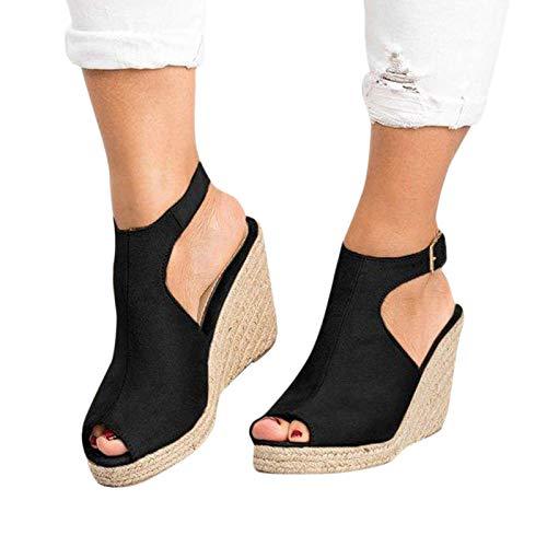 Strap Sandals for Women Flats Eduavar Women's Wedge Sandals Platform Sandals Cork Elastic Strap Sandals