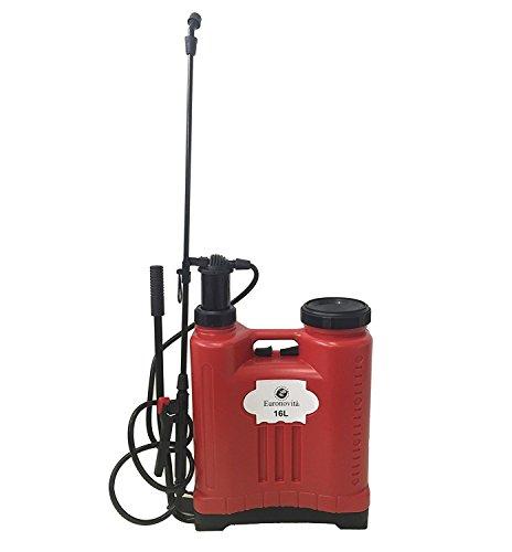 Euronovità EN-82315 Pompa a Spalla manuale 16 Lt. Pompa Irroratrice, Nebulizzatore, Spruzzino Per Giardino. Colore Rosso, 38 x 38 x 18 cm