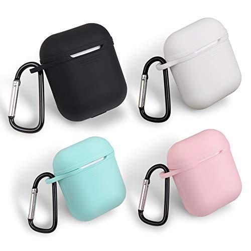 homEdge - Custodia per AirPods Bulk, 4 confezioni di custodie protettive in silicone senza cuciture con clip a forma di D per Apple AirPods – nero, bianco, rosa e verde menta