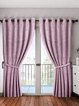Cortina Blackout Curtains for Long Doors, Solid Room Darkening Eyelet Polyester Ring top Curtains, 3 Layers Weaving Technology Thermal Insulated Energy Saving Long Door Blackout curtains Ideal for Bed Room, Living Room and – Single Pcs Long Door 9 Feet (Pink)