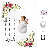 Kute 'n' Koo Premium Fleece Baby Monthly Milestone Baby Blanket for Boy Girl | Large Personalized Photography Background Blankets | Thick Flannel for Mom Newborn Bib + Frame(Gift Packaging