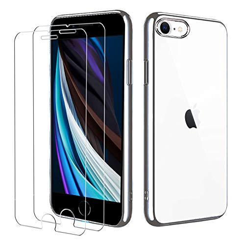 iPhone SE 2020 iPhone 8 iPhone 7 Hülle mit Panzerglas,[1 Hülle + 2 Panzerglas] Schutzhülle Schutzfolie Folie Glas TPU Silikon Case Cover Transparent für iPhone SE 2020/8/7(Silver)