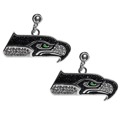 NFL Siskiyou Sports Womens Seattle Seahawks Crystal Stud Earrings One Size Team Color