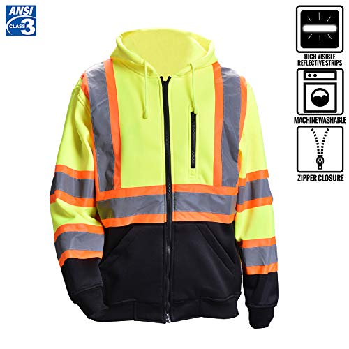 Men's ANSI Class 3 High Visibility Safety Sweatshirt Full Zip Hooded Sweater Fleece Brushed Black Bottom Thermal(2XL,Yellow)