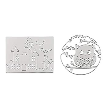 Halloween Castle and Owl Cutting Dies Stencil Metal Template Molds Embossing Tool Die Cuts for Card Making Album Paper Scrapbooking DIY Décor Dies Craft