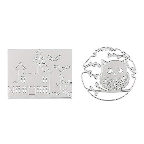 Halloween Castle and Owl Cutting Dies Stencil Metal Template Moulds, Embossing Tool for Album Paper Card Making Scrapbooking DIY Etched Dies Craft (castle&owl)