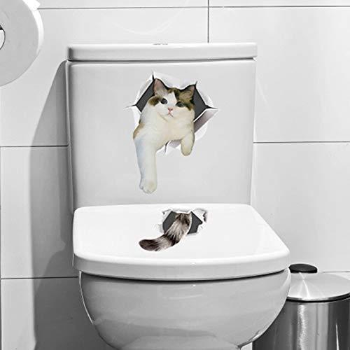WLYUE Muursticker, Leuke Kitten kat 3D Muurstickers Badkamer Kast Woondecoratie PVC Art Decals Waterdichte muurschildering Toilet Sticker Behang