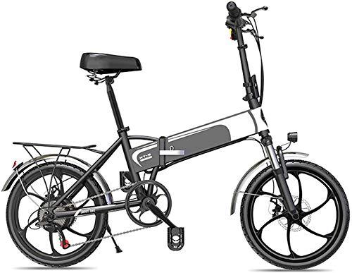Bicicletta Elettrica, 20  Biciclette elettriche pieghevoli 350W Bici elettriche per adulti con 48 V 10.4ah   12.5Ah Batteria al litio 7-Speed Al lega E-bike per il pendolarismo o in viaggio in nero