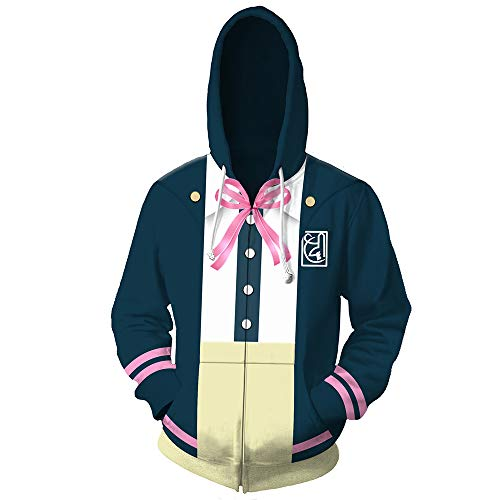 Bingchuan Anime Danganronpa Monokuma Hoodie Nanami Chiaki Cosplay Kostüm Sweatshirt Reißverschluss Jacke Sweatshirt mit Taschen
