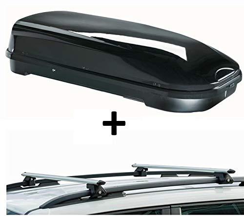 Dachbox VDPFL580 580Ltr schwarz glänzend + Dachträger CRV135 kompatibel mit Porsche Cayenne I (5 Türer) 2002-2009