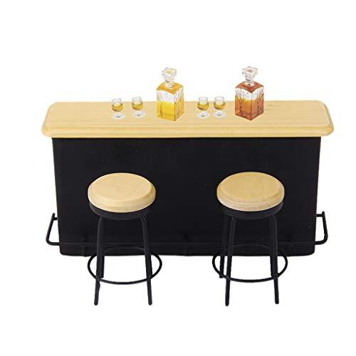 Milageto 1:12 Casa de Muñecas Mini Bar Gabinete Whisky Botella de Vino Muebles Suministros
