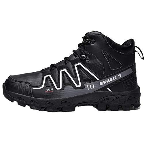 Zapatos de Senderismo para Hombre al Aire Libre Otoño Invierno Listo para Vestir Zapatillas de Deporte Transpirables con Cordones de caña Alta Casual Botas Suaves Antideslizantes para Caminar