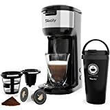 Sboly Single Serve Coffee Maker Machine with Thermal Mug, Compatible with K Cup Pod and Ground Coffee, 3 Mins Fast Brew Single Cup Coffee Makers Brewer, 6 to 14 Oz Brew Size