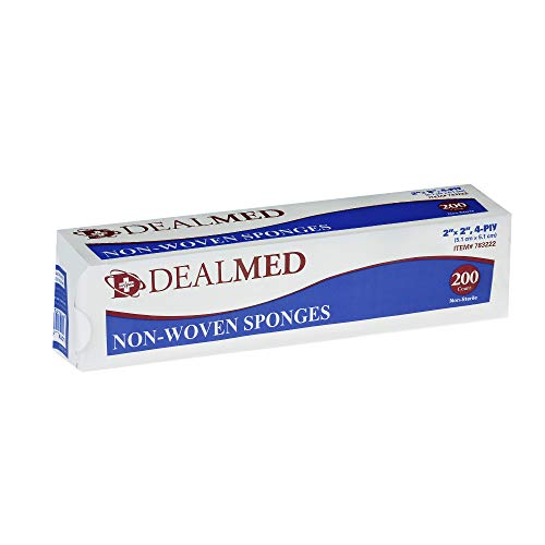 Dealmed Brand Non-Woven Sponges, All-Purpose Sterile Gauze Pads, Highly Absorbent Dental Gauze, Non-Sterile, 4-Ply (2 x 2)