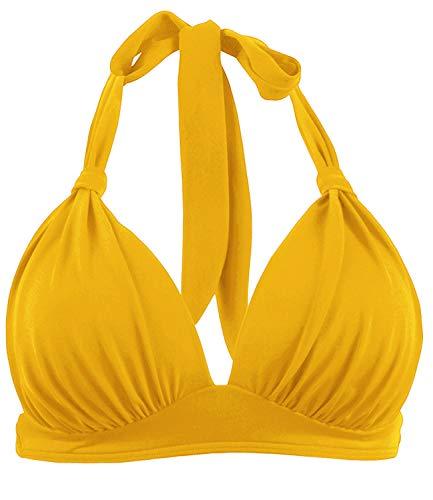 Balasami Women's Retro 50s Plaid Pattern Polka Dot Halter Molded Soft Pads Vintage Bikini Swimsuits Tops (L, Yellow)