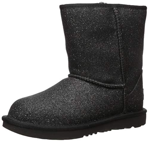 Price comparison product image UGG Kids' Classic Short II Glitter Boot,  Black,  4 M US Big Kid