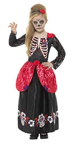 Smiffys Kinder Mädchen Deluxe Tag der Toten Kostüm, Kleid und Haarband, Alter: 7-9 Jahre, 45188