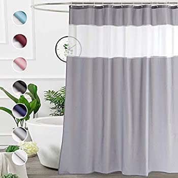 UFRIDAY Shower Curtain Grey and White 72 x 72 Inch Fabric Shower Curtain with Window.