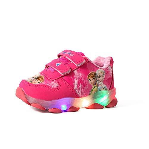 Kinder leuchtschuhe mädchen,kinder led schuhe,ELSA Schuhe,Kinder LED-Lichtschuhe, Mädchen Blitzlichtschuhe, mädchen Sneakers mit geschlossenem Mesh-Klettverschluss ( Color : A Rose Red , Size : 28 )