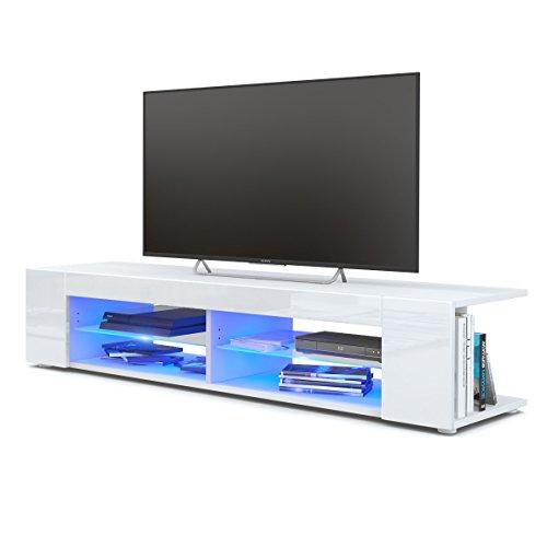 Mesa para TV Lowboard Movie, Cuerpo en Blanco Mate/Frentes en Blanco de Alto Brillo con iluminación LED en Azul