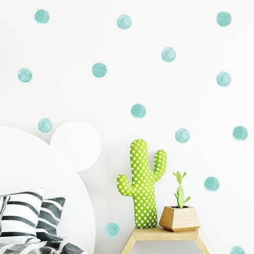 HO BEAR 36pcs Watercolor Dots Wall Decor Sticker Round Circle Wall Art Kit for Festive Baby Nursery Room, Green