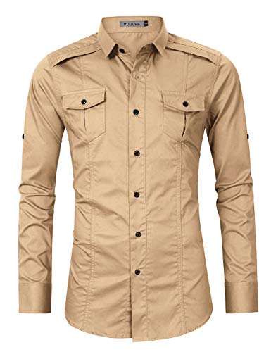 KUULEE Men's Casual Slim Fit Short Sleeve Button Down Dress Shirts Cargo Shirt (XL, Khaki-1)