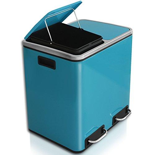 casa pura Abfalleimer Felix | Edelstahl Mülleimer mit Pedal | 2 Fach Mülltrennsystem für Küche und Büro | 30 oder 60 Liter | Trend Farben zur Auswahl (30 L - Blau/Türkis)