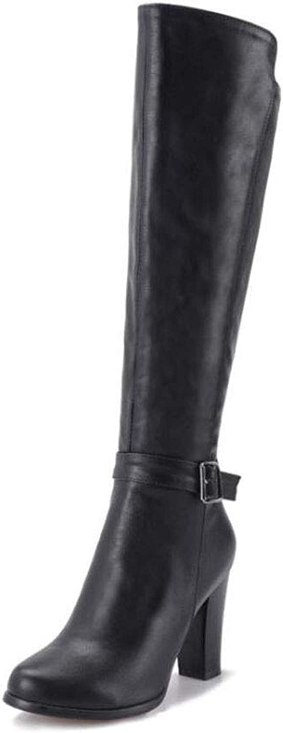 Women's Long Boots, Fall Winter Knight Boots, Ladies PU Over Knee Boots, High Boots, Women shoes Round Head High Heels Boots Side Zipper Joker Boots (color   Black, Size   39)