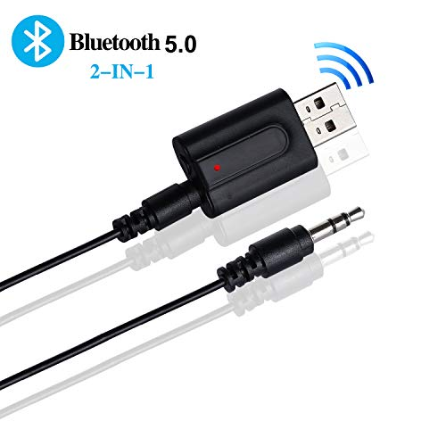 Yizhet 2-en-1 Adaptador Bluetooth Transmisor USB 5.0 Receptor con línea de Audio de 3.5 mm, Adaptador inalámbrico de transmisor Bluetooth para TV, PC, Auriculares, Sistemas de Sonido para automóviles