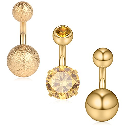 Ruifan 3PCS 14G 6mm 1/4 Inch 316L Surgical Steel CZ Short Belly Earring Navel Button Rings Set - Gold