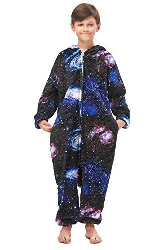 OAMORE Kinder Schlafanzug Einhorn Kostüm Jumpsuit Onesie Tierkostüm Schlafanzug Verkleiden Cosplay Schlafanzug zum Karneval Fasching (Kids-Star, 125)
