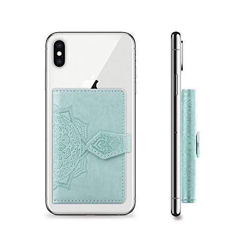 PingGongHuaKeJiYouXianGongSi - Bolsa para tarjetas y cartera, soporte y marco de fotos universal con diseño de mandala, color verde menta