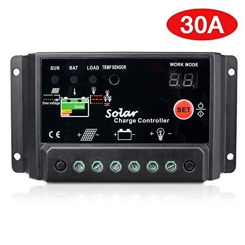 Sunix 30A Regulador de Carga, 12V-24V Controlador de Carga de Inteligente PWM Panel Solar, Protección contra Sobrecarga, Compensación Automática de Temperatura