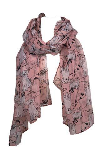 Pamper Yourself Now Rosa skizziert, gemischte Hund Entwurf Schal Mops, Dackel und Labrador whippit (Pink sketched mixed dog design scarf pug,sausage dog,labrador and whippit)
