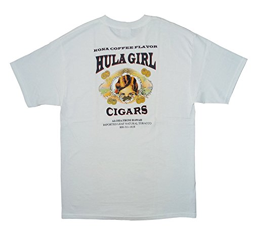 Hula Girl Cigar Logo Men's T-Shirt Silk Screened Water Base Ink - XX-Large White