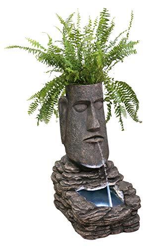 Fontaine solaire Jardinière Totem des Îles avec lumières...