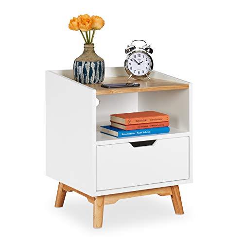 Relaxdays Nachttisch mit Holzbeinen, skandinavisches Design, Schublade, offenes Fach, Betttisch 50 x 43 x 40 cm, weiß