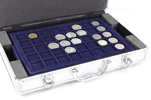 Universal Aluminium Münzkoffer | inkl 5 Münz-Tableaus für 205 Münzen Ø bis 45 mm | 2 5 10 20 € Euro uvm