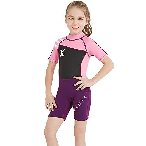 KIICN Roupa de mergulho para crianças, short de neoprene de 2,5 mm, roupa de banho térmica, roupa de banho para jovens meninos e meninas, roupa de banho para mergulho com snorkel, traje de banho completo e curto