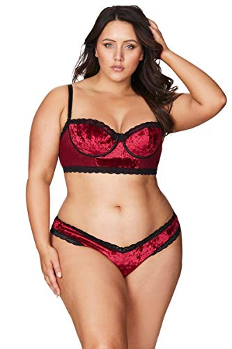 Oh là là Chéri Lingerie for Women Balconette Bra Plus Size Emmy Crushed Velvet Red 1X