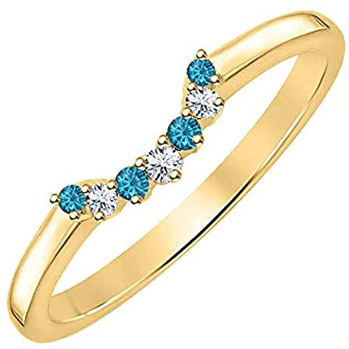 Round Cut Blue Topaz & CZ Diamond 14k Gold Plated 925 Sterling Silver Curved Wedding Band Ring for Women (Yellow, 5)