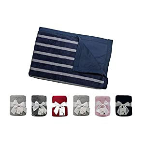 MFG Design Reversible Double-Sided Pet Throw Fleece Blanket. Perfect for Home, Couches, Pet Beds, and anywhere your dogs cats hangs out. Super Soft, Warm, Durable and Washable – 20″ x 30″, Navy Stripe