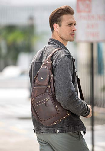 Texbo Genuine Cowhide Leather Cross Body Sling Bag Backpack Bag with YKK Zippers