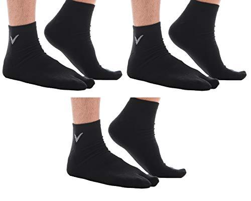 3 Pairs Flip Flop Cotton V Toe Socks Tabi Sport Big Toe Casual Wear - Black Ankle
