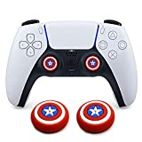 2Pcs Analog Thumb Grip Stick Cover, Dualsense Wireless Controllers Game Remote Joystick Cap, Fantastic Non-Slip Silicone Handle Protection Cover for PS5/PS4/Xbox one/360/NS PRO (Captain America)