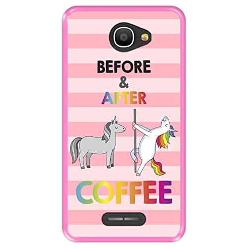 Hapdey Funda Rosa para [ Alcatel Pop 4S ] diseño [ Antes y despues del Cafe ] Carcasa Silicona Flexible TPU